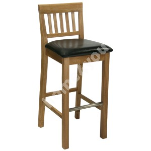 Bar stool LAURA 40xD40xH72/99cm, seat: imitation leather, color: dark brown, wood: oak, finishing: oiled