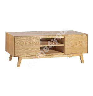 TV laud SKY 2-ukse ja riiulitega 140x40xH45cm, jalad ja raam: kummipuu, paneelid: tammespooniga mööbliplaat, värvus:tamm
