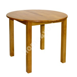 Dining table MIX & MATCH D90+30xH74cm, extendable, wood: rubber wood, color: light oak, finish: lacquered