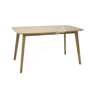 Dining table ENRICH 140x80xH75cm, material: MDF with oak veneer / rubber wood, color: oak, finishing: lacquered