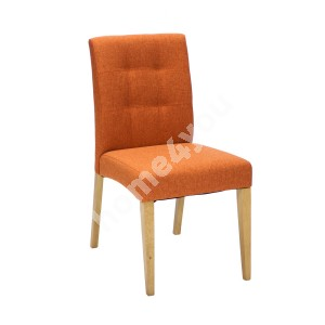 Chair ENRICH 46x57xH87cm, seat and back rest: fabric, color: orange, wood: rubber wood, color: oak, finishing: lacuered
