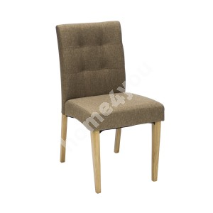 Chair ENRICH 46x57xH87cm, seat and back rest: fabric, color: brown, wood: rubber wood, color: oak, finishing: lacquered