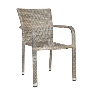 Chair LARACHE 57x61xH83cm, aluminum frame with plastic wicker, color: grey