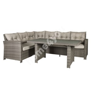 Garden furniture set PAVIA with cushions,  table and corner sofa, aluminum frame with plastic wicker, color: brown