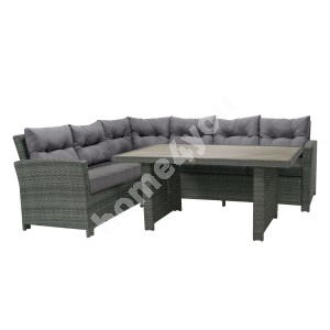 Garden furniture set PAVIA with cushions, table and corner sofa, aluminum frame with plastic wicker, color: dark grey