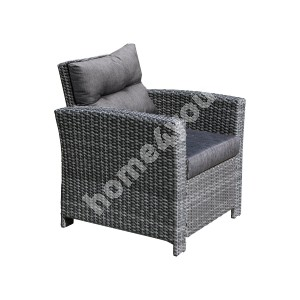 Armchair PAVIA with cushions 79x77xH84cm, aluminum frame with plastic wicker, color: dark grey