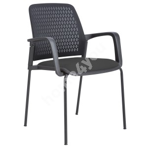 Guest chair FUSION 60x55xH84,5cm, seat: fabric, back rest: mesh fabric, color: black, frame: black