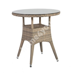 Table LARACHE D70xH72cm, table top: 5mm transparent glass, aluminum frame with plastic wicker, color: grey