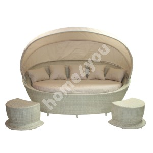 Sofa MUSE with canopy and 2 foot stools, vanilla