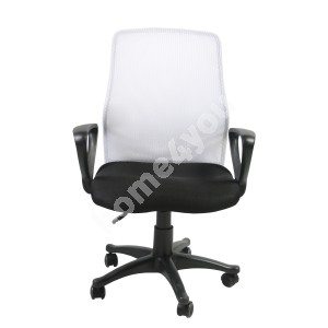 Task chair TREVISO 59xD58xH90-102cm, seat: fabric, color: black, back rest: mesh, color: white