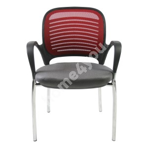 Guest chair TORINO 59xD59xH84cm, seat: fabric, color: grey, back rest: mesh, color: red, frame: chrome