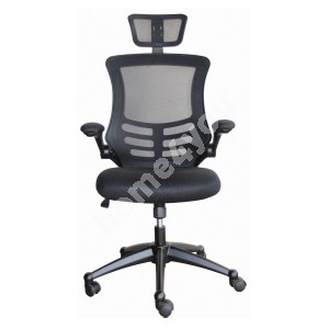 Task chair RAGUSA 66,5xD51xH117-126cm, seat and back rest: mesh fabric, color: black