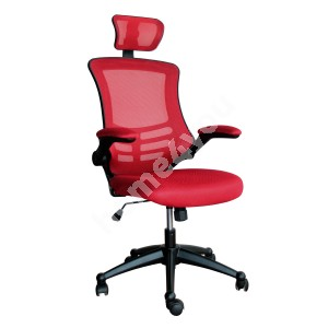 Task chair RAGUSA 66,5xD51xH117-126cm, seat and back rest: mesh fabric, color: red