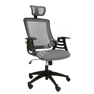 Task chair MERANO with headrest, 64,5xD49xH96-103cm, seat and back rest: mesh fabric, color: grey