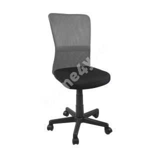 Task chair BELICE 41xD42xH83-93cm, seat: fabric, color: black, back rest: mesh, color: grey