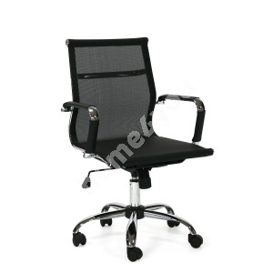 Task chair ULTRA 55x59xH89/79cm, seat and back rest: textiline, color: black, leg: chrome