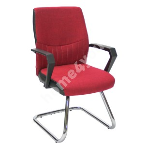 Guest chair ANGELO 58x57xH90cm, seat and back rest: fabric, color: red, frame: chromed