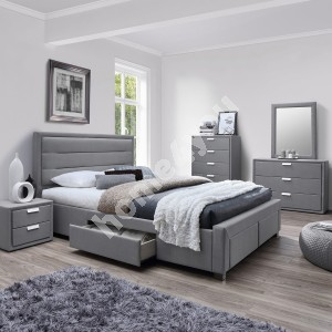 Bed CAREN with 4 drawers, without mattress 160x200cm, frame is covered with fabric, color: grey