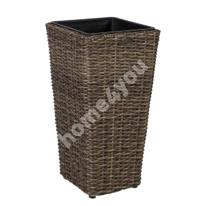 Plant holder WICKER 28x28xH60cm, plastic wicker, color: dark brown