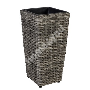 Plant holder WICKER 28x28xH60cm, plastic wicker, color: grey