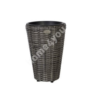 Plant holder WICKER D28xH40cm, plastic wicker, color: grey