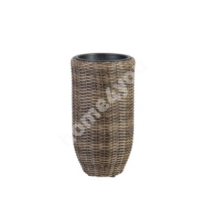 Plant holder WICKER D28xH51cm, plastic wicker, color: dark brown