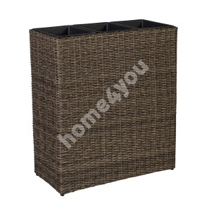 Flower box WICKER 77x22xH80cm, plastic wicker, color: dark brown