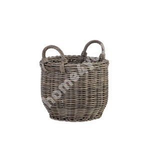 Basket WICKER with handles D34xH26/34cm, plastic wicker, color: grey