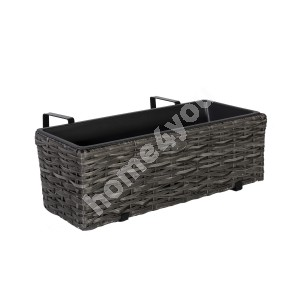 Balcony flower box WICKER 60x19xH18cm, plastic wicker, color: grey