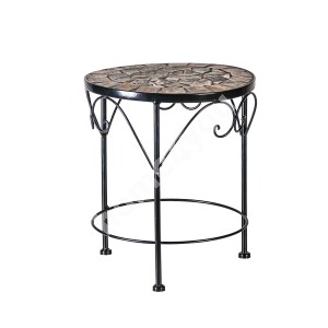 Flower stand MOSAIC D20xH25cm, mosaic top: dark grey/brown stone, black metal frame