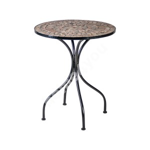 Table MOSAIC D60xH70cm, MOSAIC top: dark grey/brown stone, black metal frame