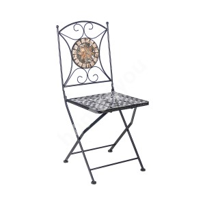 Chair MOSAIC 36x36xH70cm, foldable, rectangular backrest and seat, black metal frame