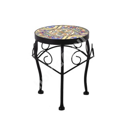 Подставка для цветов MOROCCO D20xH25см, мозаичная поверхность с цветными мотивами, черная металлическая рамка