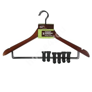 Cloth hangers 3pcs/set, with metal clips, dark wood
