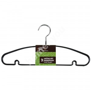 Cloth hangers 3pcs/set, non-slip metal, black PVC cover