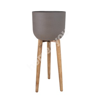 Lillepott SANDSTONE puidust jalgadega D36,5xH86cm, pruun
