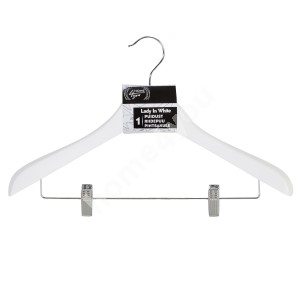 Cloth hanger for coat with metal clips LADY IN WHITE, white wood