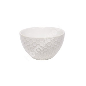 Small bowl LUME, 400ml, D12.5xH7cm, honey comb design, white, trendy glowing glaze