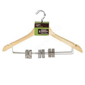 Cloth hangers 3pcs/set, with metal clips, natural wood