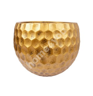 Flowerpot, low CUBO-2, D41xH31cm, antique gold