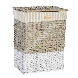 Laundry basket MAX-1, 45x33xH59cm, weave, color: antique grey/ white, with fabric