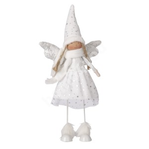 Standing angel, moving, white hat, H42cm