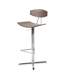 Bar stool BLAISE 43x42xH103cm, seat and back: veneer, color: walnut, leg: chrome