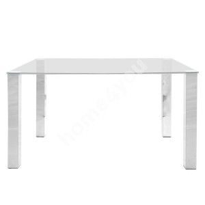 Dining table KANTE 140x90xH75cm, table top: 12mm clear glass, legs: metal, color: chrome