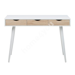 Desk NEPTUN with 3 drawers, 110x50xH77cm, frame - white / drawers - oak, legs: white metal