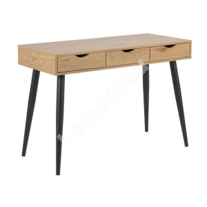 Desk NEPTUN with 3 drawers, 110x50xH77cm, oak, legs: black metal
