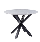 Söögilaud HEAVEN D110xH76cm, lauaplaat: valge marmor, jalad: must metall