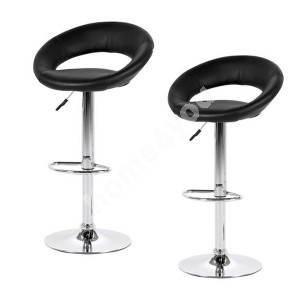 Bar chairs 2pcs PLUMP 56x50xH100cm, seat and back: imitation leather, color: black, leg: chrome