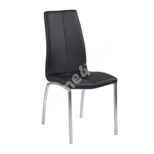 Chair ASAMA 43,5x57xH95cm, seat and back: imitation leather, color: black, legs: chrome
