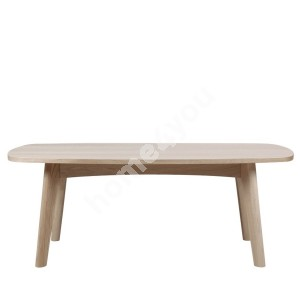 Coffee table MARTE 118x58xH49cm, table top and legs: solid wood/covered with oak veneer, finish: white pigmented oil